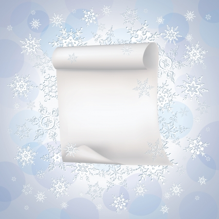 Winter stylish blue - purple background with sheet of paper and white ornate snowflakes  New Year and Christmas card with place for text  Beautiful winter wallpaper  Vector illustration Vector
