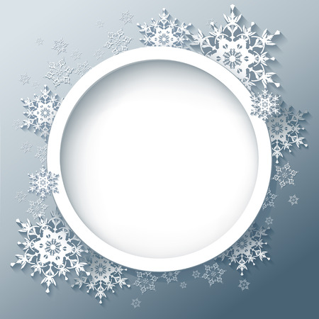 Winter abstract background with 3d snowflakes  Winter round frame  New Year and Christmas celebratory card with place for text  Vector illustration Vector