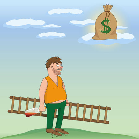 Illustration of  Drinking Man with a bottle of alcohol who man dreams of a sack with money  Vector illustration Vector