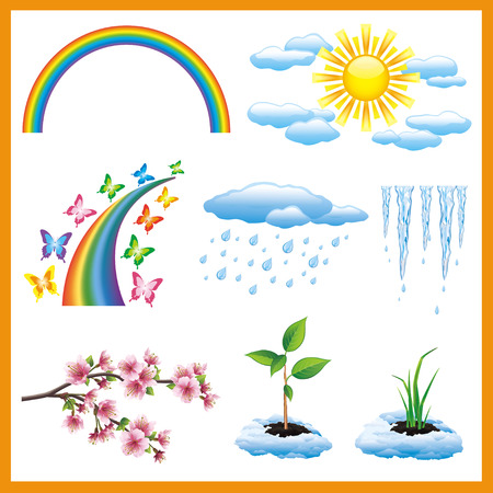 Set of spring or summer nature object Vector