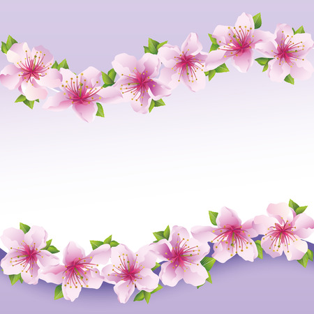Stylish floral background purple, greeting card with flower sakura  Greeting or invitation card  Stylish illustration Vector