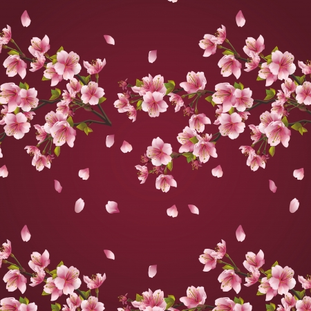 Seamless background maroon with branch of cherry tree  Beautiful vector background with Japanese cherry tree sakura blossom  Elegant floral seamless pattern   矢量图像