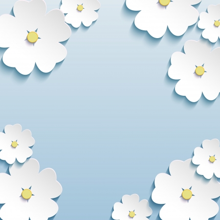 Floral abstract creative background blue  Vector