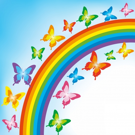 Background with colorful butterflies and rainbow  Spring or summer abstract wallpaper  Vector illustration  Illustration