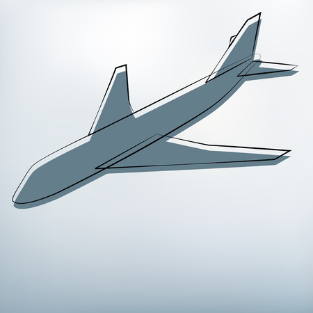 Gray background with airplane symbol flight in sky   Vector
