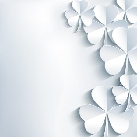 スタイリッシュな抽象的な St パトリック日背景葉クローバー トレンディな現代の白