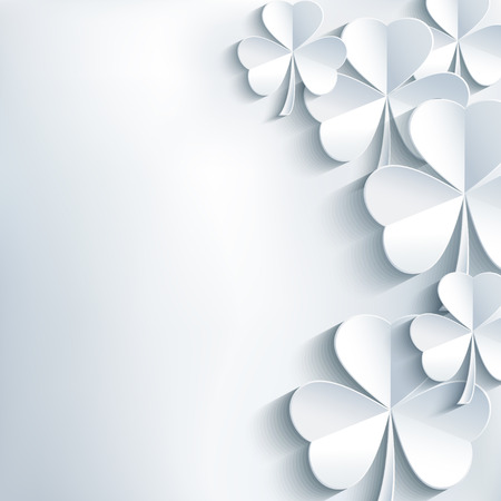 잎 클로버 최신 유행 현대 흰색과 세련 된 추상적 인 세인트 Patricks 하루 배경