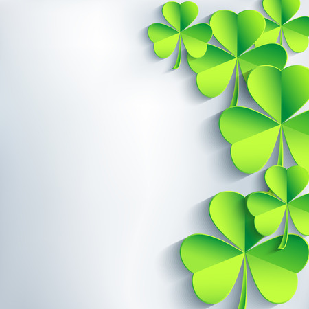 Abstract St  Patricks day background with green leaf clover    Vector