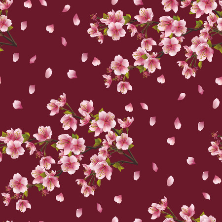 Seamless background texture with branch of cherry tree   Vettoriali