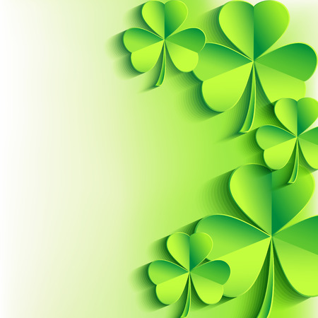 three leaf clover: Abstract St  Patrick s day card with leaf clover  Stylish Patricks day background