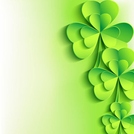 three leaf clover: Patricks day background with stylish green leaf clover  Abstract stylish St  Patrick