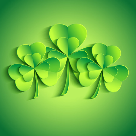Patricks day card with stylized 3d leaf clover  Trendy Patricks day background with three green leaf clover  Vector