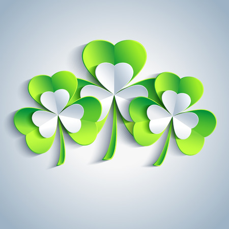 Beautiful Patricks day card gray with three 3d leaf clover  Trendy Patricks day background with three green and gray leaf clover  Vector