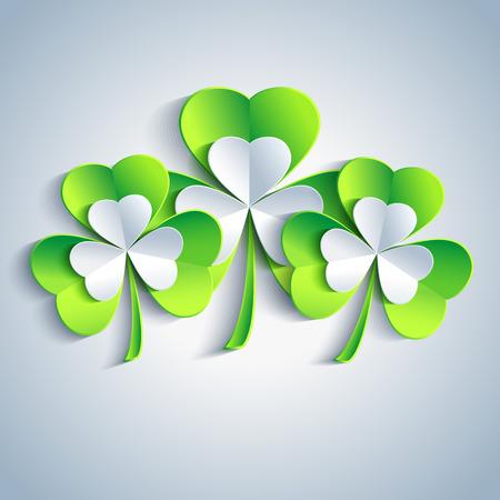 irish background: Beautiful Patricks day card gray with three 3d leaf clover  Trendy Patricks day background with three green and gray leaf clover  Illustration
