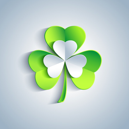 Beautiful Patricks day card gray with 3d leaf clover  Trendy Patricks day background with gray and green leaf clover   Vector