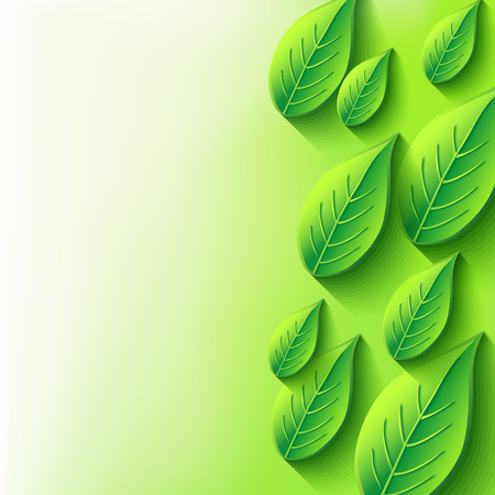 agriculture wallpaper: Abstract background with fresh green spring or summer 3d leaf  Eco background with plant and place for text   Illustration