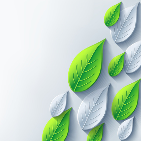 Stylish abstract background with gray and green 3d leaf  Eco background with plant  Vector