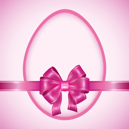 pink bow: Easter egg with pink ribbon  Celebratory background for holiday Easter  Invitation or greeting card  Vector illustration Illustration