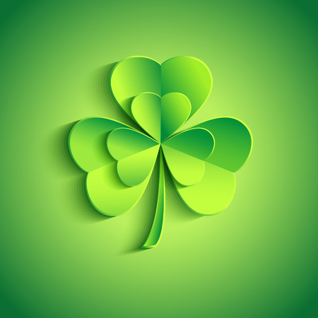 Beautiful Patricks day card green with stylized 3d leaf clover  Trendy Patricks day background with green leaf clover   Vector