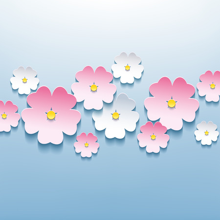 3d flower: Beautiful floral blue background with white and pink 3d flower sakura  Stylish trendy modern background  Vector illustration