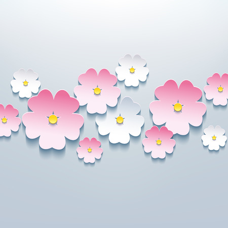 Beautiful floral gray background with white and pink 3d flower sakura  Stylish trendy modern background  Vector illustration Vector
