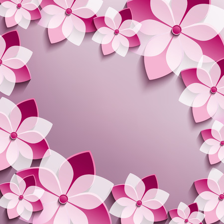 Floral festive frame with pink 3d flowers sakura  Stylish trendy abstract background  Greeting or invitation card  Vector illustration Vector