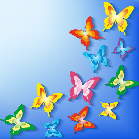 Beautiful background with 3d colorful butterflies