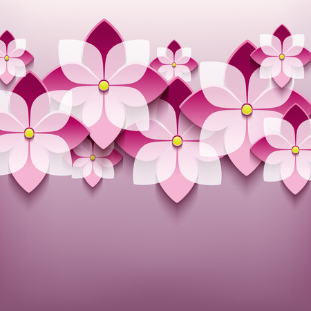 Beautiful floral trendy background with 3d flower sakura  Vector