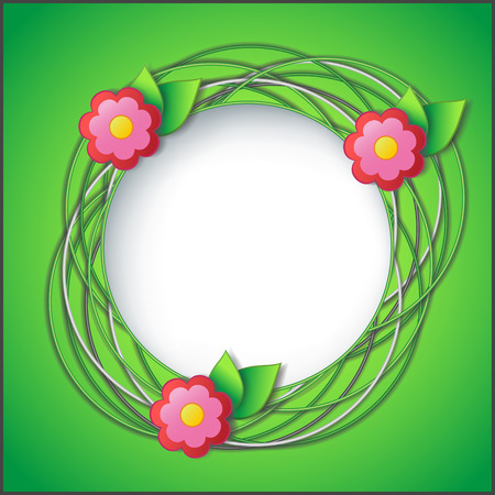Floral frame with circles, flowers and fresh green leaves  Vector