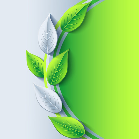 Stylish trendy Eco background with green and gray 3d leaves   Vector