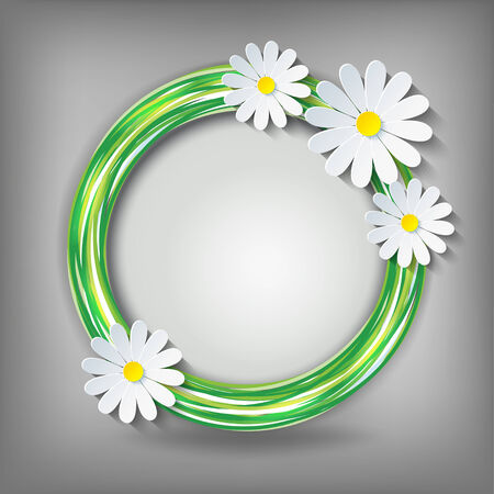 Eco background with 3d flower chamomile  Vector