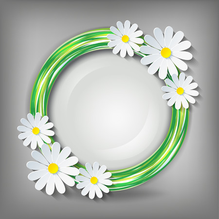 Eco stylish background with circle and 3d flower chamomile  Vector