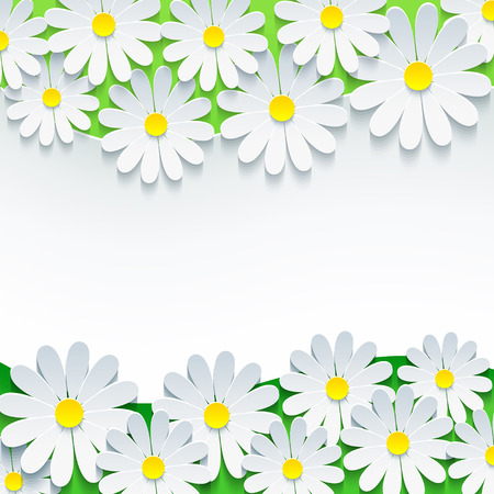 Stylish floral background, frame with 3d flower chamomile