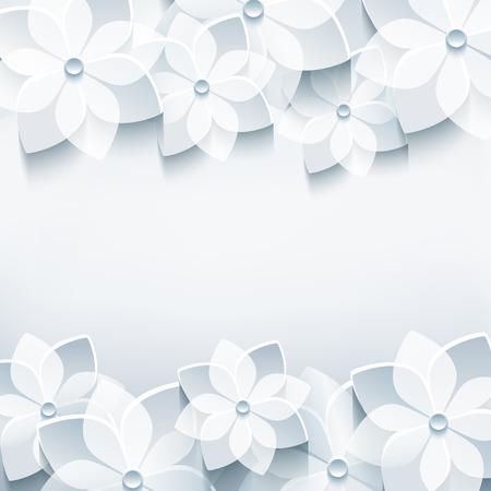 flor de sakura: Fondo gris moda abstracto floral con flores estilizadas sakura 3d Vectores