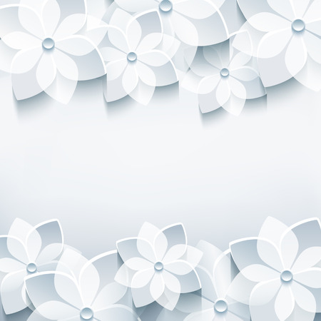 3d flower: Trendy abstract floral gray background with stylized 3d sakura flower     Illustration