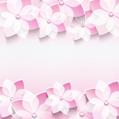 flor de sakura: Abstracto floral fondo rosa de moda con flores estilizadas sakura con estilo 3D de la invitaci�n de fondo moderna o tarjeta de felicitaci�n para la boda, cumplea�os, aniversarios y eventos de la vida ilustraci�n vectorial