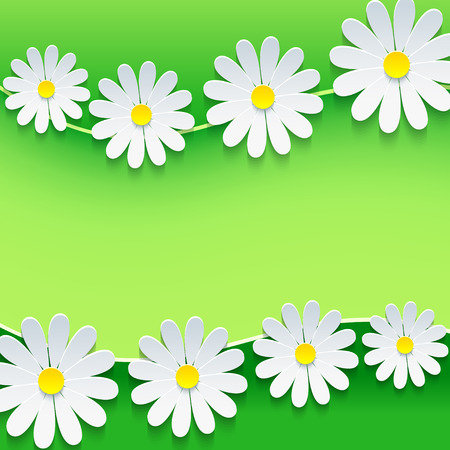 Floral frame with 3d chamomile flower
