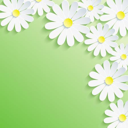세련된 최신 유행의 배경, 흰색 3d 꽃 카모마일 추상 봄 또는 여름 그린 카드 벡터 꽃 배경 벡터 일러스트 레이 션