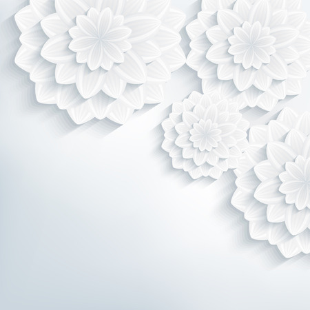 Floral abstract elegant background with white and gray stylized 3d flowers  Beautiful stylish creative background  Trendy greeting or invitation card for wedding, birthday and life events  Vector illustration