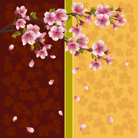 Romantic golden-brown background with sakura blossom - Japanese cherry tree with falling petals, place for text  Beautiful stylish greeting or invitation card in oriental style  Vector illustration Vector