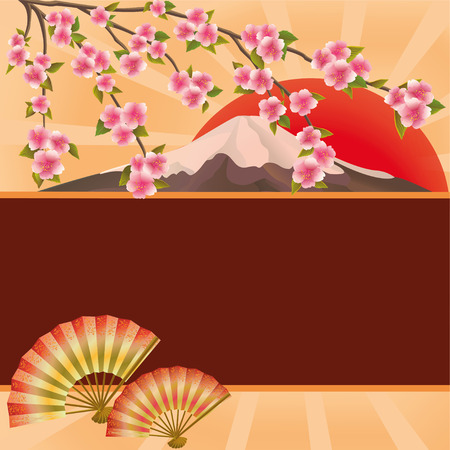 Oriental background with two folding fans, mountain, red sun and branch of blossoming sakura - Japanese cherry tree  Beautiful stylish golden wallpaper with place for text  Vector illustration Vector