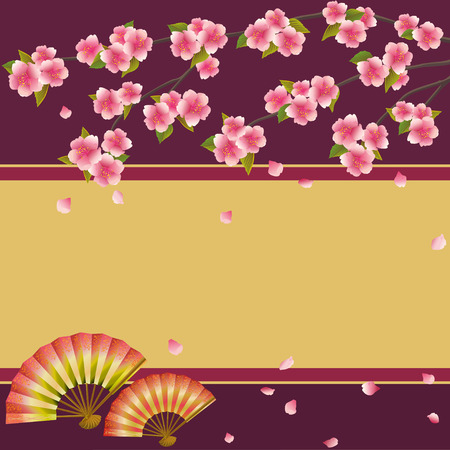 Oriental background with two folding fans and branch of pink blossoming sakura - Japanese cherry tree with falling petals  Beautiful stylish golden - maroon wallpaper with place for text  Vector illustration Vettoriali