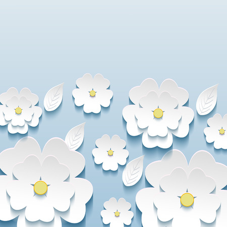 Beautiful stylish trendy wallpaper blue with 3d flowers sakura and leaves. Greeting or invitation card with stylized flowers sakura.  Modern vector background   Vector