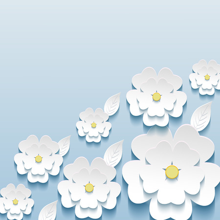 Beautiful trendy wallpaper blue with 3d flowers sakura and leaves.  Invitation or greeting card with stylized flowers.  Modern vector background   Vector