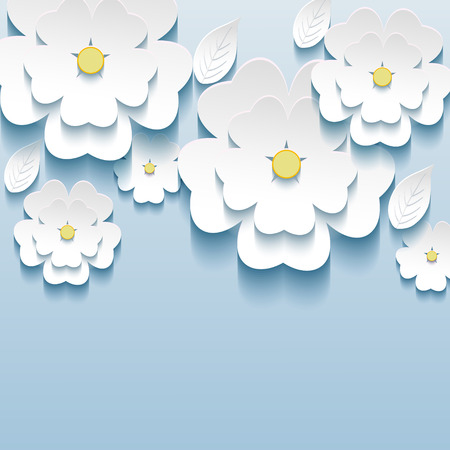 3d flowers sakura white, trendy beautiful wallpaper  Greeting or invitation card with stylized flowers sakura and leaves  Modern stylish background  Vector illustration Vector