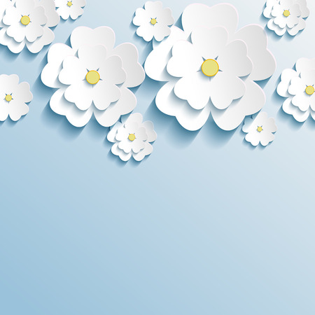 white greeting: Stylish trendy wallpaper with 3d flowers sakura white  Greeting or invitation card with stylized flowers  Beautiful modern background  Vector illustration