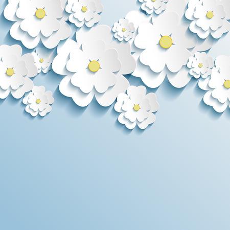Beautiful wallpaper with 3d stylish flowers sakura white  Greeting or invitation card with stylized flowers sakura  Modern trendy background