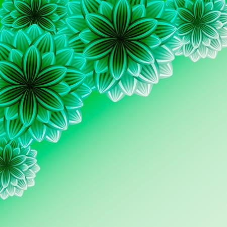 groen behang: Mooie sier achtergrond met bloemen Stijlvolle trendy groen behang Groet of uitnodiging kaart voor gebeurtenissen in het leven met plaats voor tekst Vector illustratie