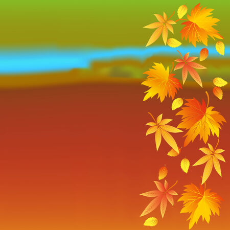 Beautiful autumn colorful wallpaper with yellow, orange, red leaves  Nature background with leaf fall  Place for text  Vector illustration  Vector
