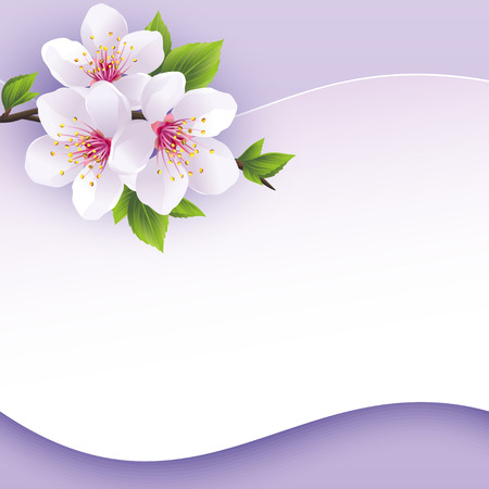 Greeting or invitation card with branch of sakura  Beautiful abstract background purple with place for text  Stylish vector wallpaper  Vector illustration Vettoriali